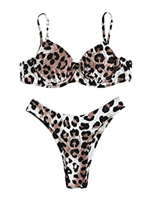 Features: Adjustable spaghetti strap, leopard print, push up padding bra, high leg bikini set. Material: Fabric is good and feels comfy when you wear it. Before Order: Please choose one size up. Occasion: Perfect for vacations, summer, beach & pool w...