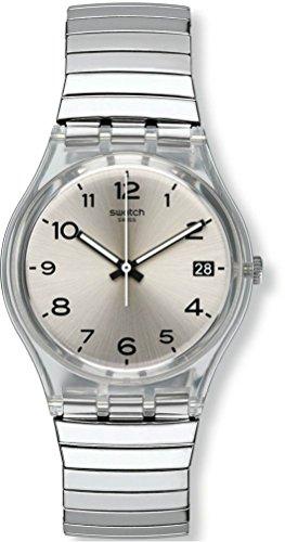 Swatch Damen Analog Quarz Uhr mit Edelstahl Armband GM416B