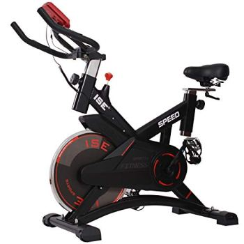 ISE Vélo d'appartement Ergomètre Cardio Vélo Biking,Petit Exercice de Fitness Indoor avec Programme et l'Ecran,Supports pour Bras,Cardiofréquencemètre Max. 120kg,SY-7005-1