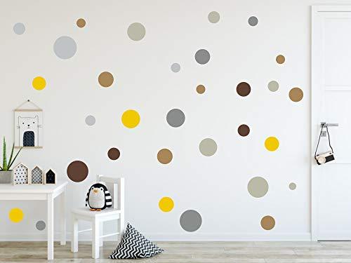timalo® 120 Stück Wandtattoo Kinderzimmer Kreise Pastell Wandsticker – Aufkleber Punkte | 73078-SET10-120