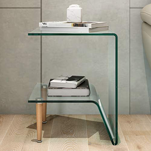 Durian Kyle Glass Square End Tables (Colour: Clear ::Finish: Glossy)
