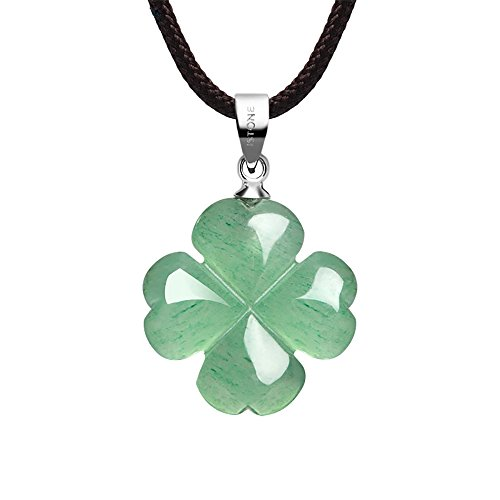 iSTONE Four Leaf Clover Necklace,Made with Green Aventurine...