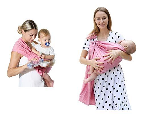 Uamita Fascia Porta Bebè in Lino all'80% ed al 20% i in Cotone Organico. Tessuto Resistente, Fresco e Traspirante. Pratico e Sicuro per la Mamma, Fresco e Confortevole per il Bimbo (Salmone)