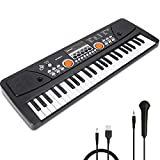 RenFox 49 Key Kids Piano Keyboard with Microphone Portable Kids Keyboard Piano Beginner Electric Music Keyboard Piano Teaching Toy Gift for Kids Boy Girl