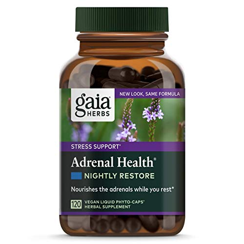 Gaia Herbs Adrenal Health Nightly Restore, Calming Sleep and Stress Support, Ashwagandha, Reishi, Cordyceps, Lemon Balm, Vegan Liquid Capsules, 120 Count 1