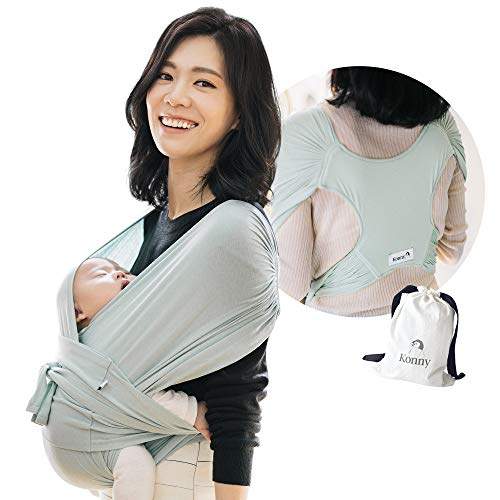 Konny Baby Carrier   Ultra-Lightweight, Hassle-Free Baby Wrap Sling   Newborns, Infants to 44 lbs Toddlers   Soft and Breathable Fabric   Sensible Sleep Solution (Mint, M)