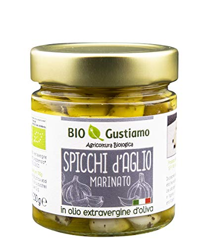 Bio Gustiamo - 6 Vasetti BIO Aglio Marinato sott'olio EVO   Spicchi di Aglio sott'olio in extra vergine d'oliva biologico italiano   Vegano & Senza Glutine   100% Italiano   6 x 200 gr