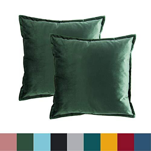 Bedsure Federe Cuscino Divano in Velluto - Federa Cuscino Decorativo Verde Scuro Quadrato 50 x 50 cm...