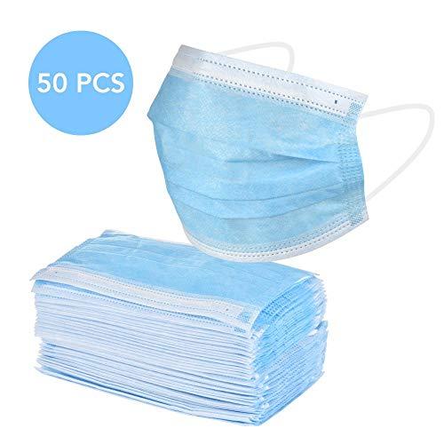 WYC 50 pezzi pezzi Maschera monouso Maschera chirurgica antinquinamento Orecchini elastici Prevenire i batteri Filtro antipolvere Maschera di sicurezza, blu A010