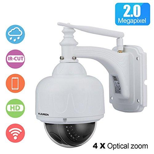 FLOUREON WiFi Telecamera di Sorveglianza PTZ IP Camera - HD 1080P 2.0MP ONVIF 5X Zoom P2P Impermeabile Dom Videocamera Visione Notturna Allarme Email Supporta Micro SD