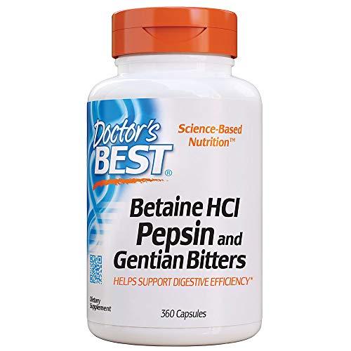 Doctor's Best, Betain HCI mit Pepsin und bitterer Enzian, Vollspektrum Verdauungsenzyme, gentechnikfrei, 650mg, 360 Kapseln