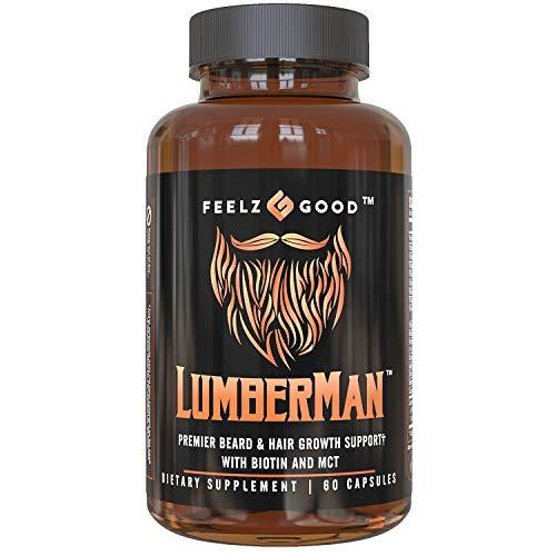 Lumberman Premier Beard & Hair Growth Vitamin Formula - Stronger Healthier Hair. Hair Growth Supplement w/ 10000mcg Biotin, MCT, Vitamin D3 & B5 Folate & More - Supplement for All Hair Types