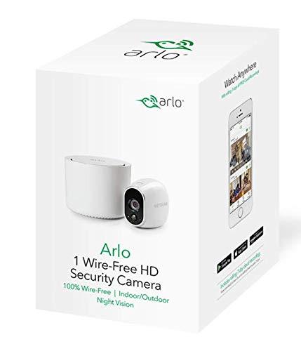 410ZfHf32-L [Bon plan Arlo ] Caméra de surveillance Wifi Sans fils, Pack de 1 HD Jour/Nuit, Etanche IP65, Intérieur/Extérieur, Fixation A...