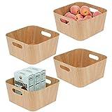 mDesign Juego de 4 recipientes para alimentos con asas y de cartón – Cestas para verduras y frutas para la despensa – Organizadores de armario de cocina medianos aptos para alimentos – natural