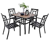 MFSTUDIO 5 Piece Patio Dining Set Metal Patio Armrest Dining Chairs and Larger Square Table Set, 37' Square Bistro Table and 4 Backyard Garden Chairs - Umbrella Hole 1.57'