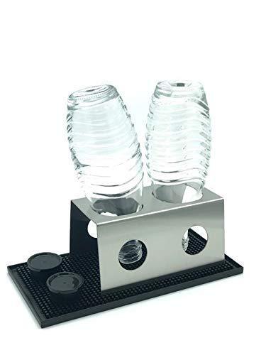 Abtropfhalter 2.0 aus Edelstahl für z.B. Soda-stream Crystal/Source/Easy/Cool Flaschen Flaschenhalter wählbar mit/ohne Abtropfmatte Abtropfschale