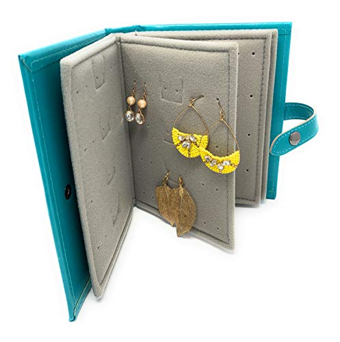 Little Book of Earrings The Original - Joyero con Forma de Libro, 19 x 4 x 14 cm, Color Verde Azulado