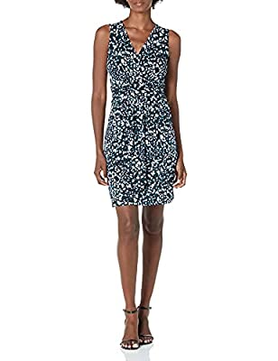 This sleeveless, v-neck, knee length dress is comfortable, flattering and versatile. Dress it up with heels or down with flats, add a blazer or cardigan for work Featuring a faux wrap gathered skirt, and a fixed band at the waist was designed to flat...