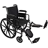 ProBasics Lightweight Wheelchair for Adults - Flip Back Height Adjustable Desk Arms with Elevating Leg Rest - 20' x 16' Seat