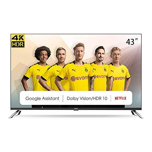 CHiQ Televisor Smart TV LED 43', Resolución 4K UHD, HDR10/HLG, Android 9.0, WiFi, Bluetooth, Netflix, Prime Video, HDMI, ARC, USB - U43H7A