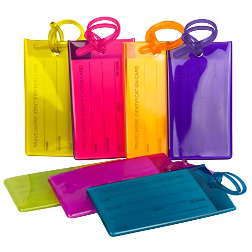 Pack de 7 étiquettes de Bagage TravelMore, étiquettes d'identification en...