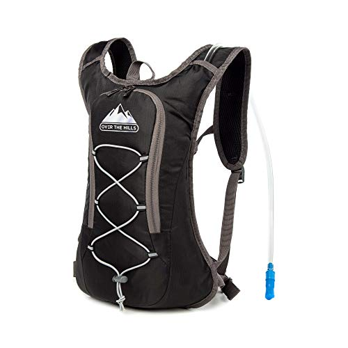 Professional OverTheHills Hydration Backpack with 2L Water Bag and Straw | Comfortable, Lightweight, Rip-resistant, Waterproof Bag | Perfect for Running, Cycling, Climbing, Camping and Biking (Black)
