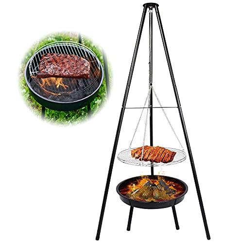 Qdreclod 160 cm Trépied Brasero Barbecue Suspendu avec Grille, Gril BBQ Camping Portable Charbon de Bois avec Chaîne Ajustable, Brasero Exterieur pour Les Jardins, Pique-niques