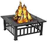 ZENY Outdoor 32'' Metal Fire Pits BBQ Square Table Backyard Patio Garden Stove Wood Burning Fireplace with Spark Screen Cover,Poker,Cover,Grill