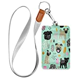 HMZXZ Cute Pug Dogs ID Badge Holder with Lanyard Detachable Keychain PU Leather Vertical ID Card Case for Woman Men Teacher Office Worker Student