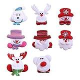 TOYMYTOY 8pcs Noël LED Broche Broches Lumineux Rougeoyant Insigne Clips Fête De Noël Favorise des Cadeaux De Vacances Enfants