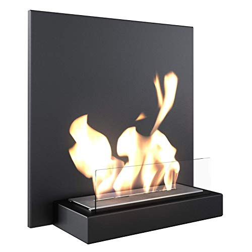 KRATKI bio Fireplace Plank | Wall Fireplace 450 x 450 mm | 0.33 L Container | Black | 16 kg | Table Fireplace with Glazing | Modern Gel Fireplace | Bioethanol Fireplace Ideal for Home or Restaurant