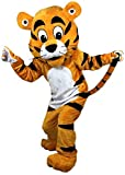 Orange Tiger Mascot Costume Adult Size for Men & Women Height 5'11' to 6'3' with Built-in Fan Inside The Head