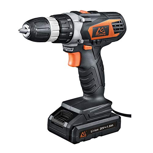 MAIBERG 20V Cordless Drill Driver with 1x1.5Ah Batteries, Fast Charger, 18+1 Torque Setting, 2-Variable Speed Max Torque 250 In-lbs, 3/8' Keyless Chuck