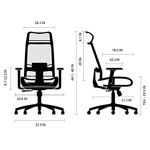 Product Image 7: BILKOH Ergonomic Office Chair, High Back Desk Chair with Mesh Seat - Adjustable Lumbar Support Breathable Mesh Chair Wide Headrest& Reclining Task Chair Adjustable 3D Armrest & Height <a href=