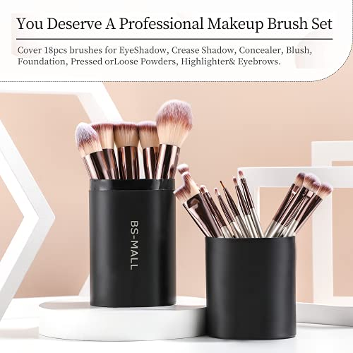 Product Image 5: BS-MALL Makeup Brush Set 18 Pcs Premium Synthetic Foundation Powder Concealers Eye shadows Blush Makeup Brushes Champagne Gold Cosmetic Brushes with Black Case