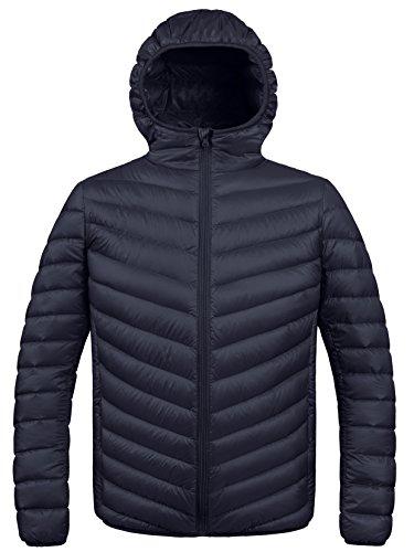 ZSHOW Men's Winter Packable Down Jacket with Hood(Black,Large)