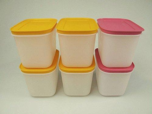 Tupperware 29496 - Contenitore per congelatore, 1,1 l, 2 pezzi, colore: Rosa + (4)