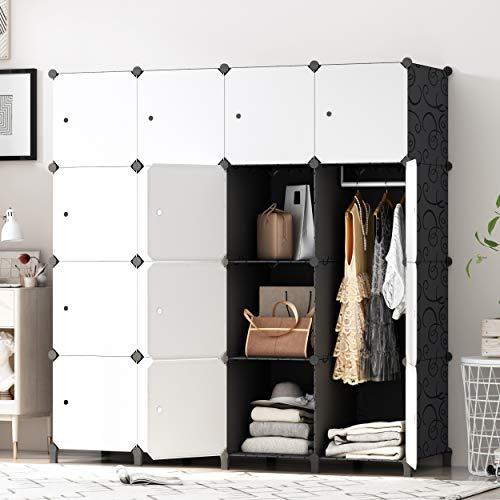 PREMAG fai da Te Portatile Armadio Guardaroba, Modular Storage organizzatore, di economia di Spazio stanzino, Deeper cubo con Hanging Asta 16 cubi