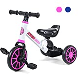 Peradix 3 in 1 Kids Tricycles for 1-3 Years Old, Three Wheels Toddlers Trike with Detachable Pedals, Toddler Tricycles Bike for First Birthday Gift, Baby Bike for 2 Years Old Boys Girls Trikes(Pink)