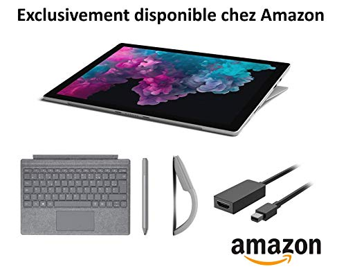 Microsoft Pack Exclusif Amazon Surface Pro 6 (core i5, RAM 8 Go, SSD 128 Go, Windows 10) - Platine + Clavier Platine + Stylet Platine + Souris Arc Platine + Câble HDMI