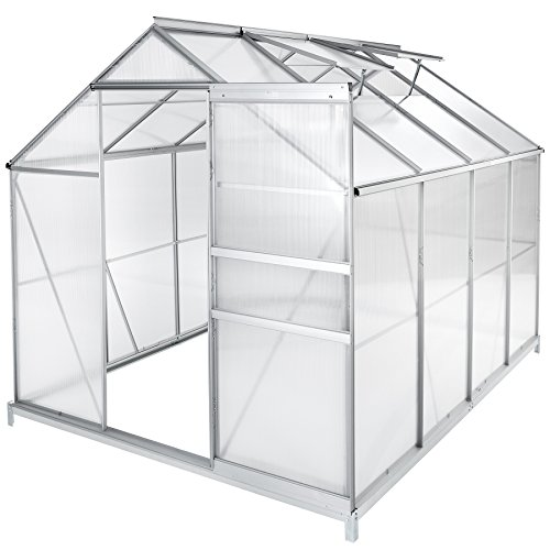 TecTake Serre de Jardin et Polycarbonate alu Tente abri Plante Jardinage - diverses modèles - (250x185x195 cm avec Base   no. 402475)