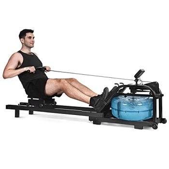 Sijux Rameur d'eau Pliable, Rameur Étanche en Bois avec Écran LCD, Équipement d'exercice À Domicile pour L'entraînement Aérobie