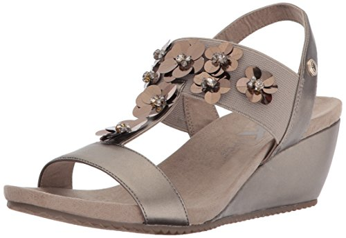 Anne Klein Women's Cassie Wedge Sandal, Metallic Taupe Synthetic, 7 M US