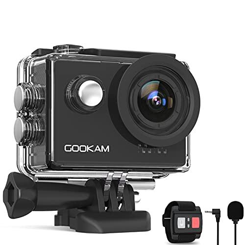 GOOKAM 4K 60fps Action Cam 20MP EIS WiFi Fotocamera Subacquea Impermeabile 40M Sott'Acqua Sports Camera Schermo 170° Grandangolare Telecomando Microfono Esterno 2x1350mAh batterie e Accessori