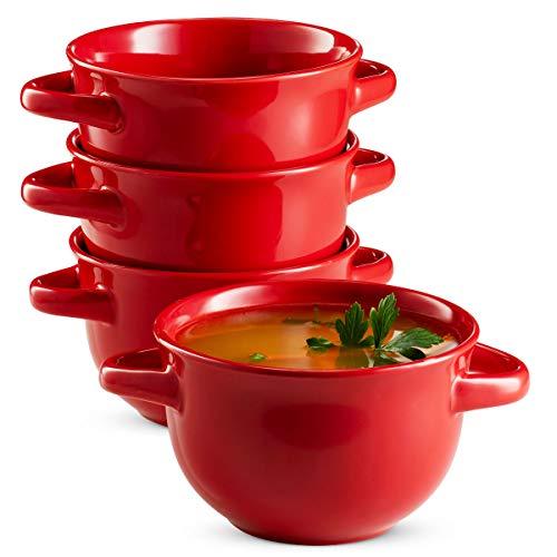 Soup Crocks with Handles, Ceramic Make, Soup, Chilli, by KooK, 22oz, Set of 4 (Red)
