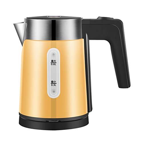 Wasserkocher Reisewasserkocher 0.6L tragbare Mini-1000W 304 Edelstahl Automatische Abschaltung und Trockengehschutz Cordless Gelb