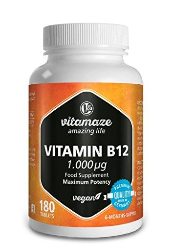 Vitamaze® Vitamina B12 Alto dosaggio Metilcobalamina 1000 µg 180 compresse vegane fornitura 6 mesi Prodotto di qualità prodotto in Germania senza stearato di magnesio