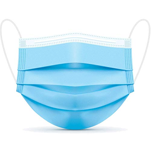 3PLY 50Pcs | 500Pcs | 1000Pcs Disposable Face Masks 3 Ply Protective Safety Mask for Dust, Air Pollution with Elastic Earloop (Blue) (50)