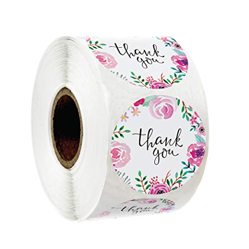 500 Thank You Stickers 1.5' Inch Size in Roll | Pink Water Color Flower Design for Birthdays, Weddings, Giveaways, Bridal Showers and Perfect for Small Business Owners