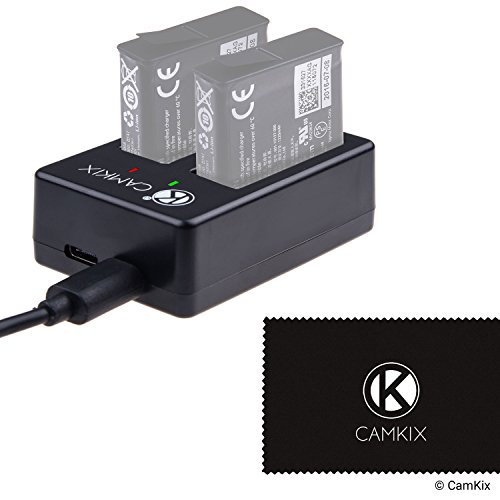 CamKix Caricabatterie Sostitutivo Compatibile con GoPro HERO 5 (AABAT-001) - Carica Rapidamente fino a 2 Batterie via USB C o Micro USB - Indicatore Stato di Ricarica LED - Cavo USB
